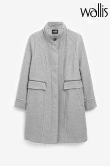 Wallis Grey Faux Wool Funnel Coat
