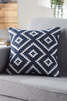 Navy Blue Diamond Geo Cushion