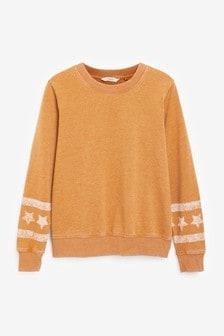 Ochre Star Sleeve Graphic Sweatshirt