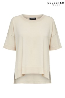 Selected Femme Beige Lightweight Knitted Top