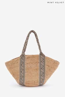 Mint Velvet Neutral Emily Jute Tape Shopper Bag