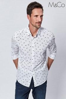 M&Co Men's White Fish Print Shirt