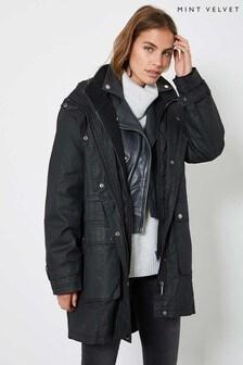 Mint Velvet Black Layered Waxed Parka Coat