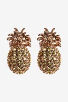 Gold Tone Sparkle Pineapple Stud Earrings