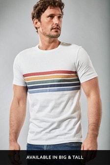 White Chest Stripe Slim Fit T-Shirt