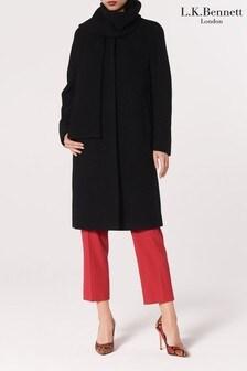 L.K.Bennett Black Mimi Wool Coat With Scarf