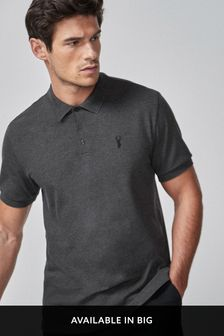 Charcoal Grey Regular Fit Pique Poloshirt