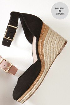 Black Leather Closed Toe Wedges