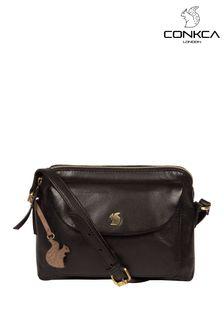 Conkca Black Dainty Leather Cross Body Bag