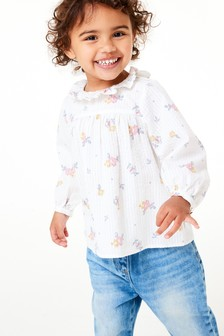 Ivory Ditsy Frill Collar Cotton Blouse (3mths-7yrs)