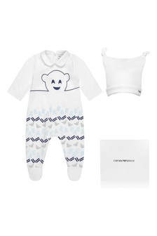Boys White Cotton Babygrow Two Pack