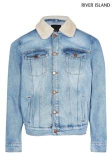 River Island Light Blue Classic Wash Borg Jacket