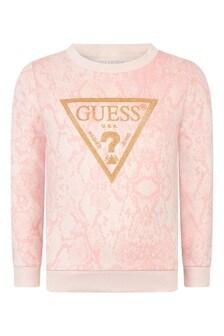 Girls Pink Python Print Cotton Sweater
