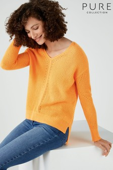 Pure Collection Yellow Gassato Pointelle V-Neck Sweater