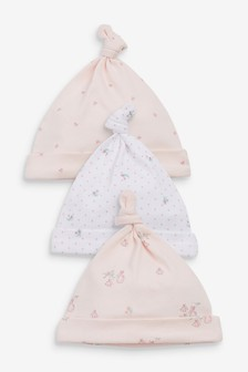 Pink 3 Pack Delicate Bunny Tie Top Hats (0-18mths)