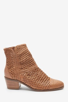 Tan Weave Ankle Boots