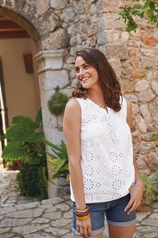 White Broderie Sleeveless Top