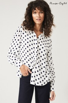Phase Eight Blue Marilyn Spot Blouse