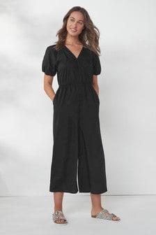Black Button Through Jumpsuit