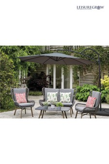 Palm 3m Grey Cantilever Parasol By Leisuregrow