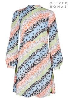Oliver Bonas Blue Bright Beauty Floral Short Dress