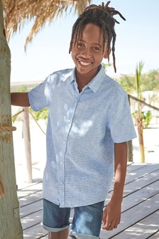 Blue Short Sleeve Linen Mix Shirt (3-16yrs)