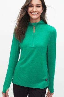 Green Zip Neck Layer Top