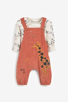 Tan Giraffe Cord Dungarees And Bodysuit Set (0mths-2yrs)