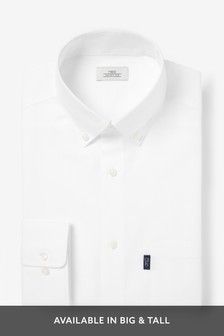 White Regular Fit Single Cuff Easy Iron Button Down Oxford Shirt