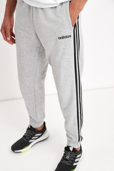 adidas Grey Essentials 3 Stripe Joggers