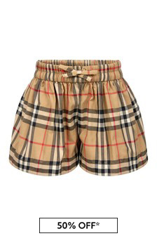 Baby Girls Beige Cotton Shorts