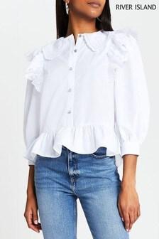 River Island White Trim Collar Peplum Shirt