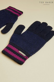 Ted Baker Blue Rushglo Birdseye Merino Blend Gloves