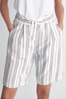 White Stripe Linen Blend Knee Shorts