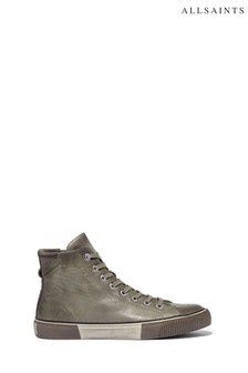 AllSaints Grey Osun High Top Lace Up Waxy Leather Trainers