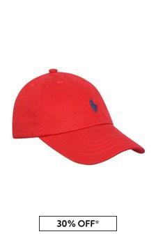 Boys Red Cotton Classic Cap
