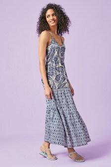 Blue Geo Print Strappy Maxi Dress