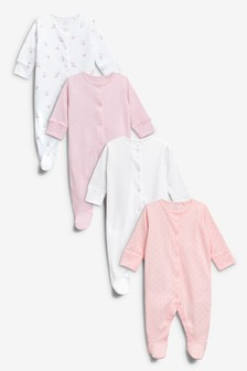 Pink/White 4 Pack Sleepsuits (0-2yrs)