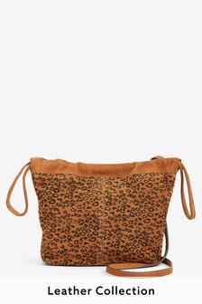 Animal Print Suede Drawstring Bucket Bag
