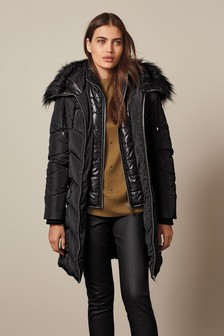 Black Belted Double Layer Padded Jacket