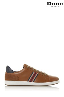 Dune London Torontos Tan Leather Embroidered Stripe Trainers