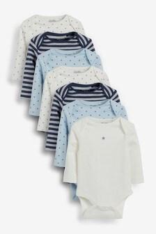 Blue 7 Pack Long Sleeve Bodysuits (0mths-3yrs)