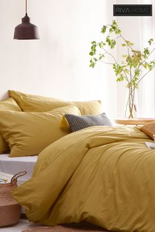Stonehouse Washed Cotton Linen Look Duvet and Pillowcase Set by Riva Home