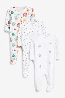 Bright Garden 3 Pack Appliqué Sleepsuits (0-2yrs)
