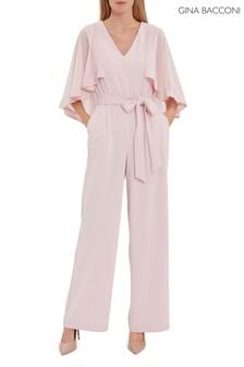 Gina Bacconi Pink Lydia Crepe And Chiffon Jumpsuit