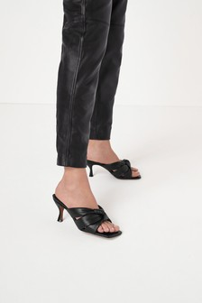 Black Signature Leather Padded Mules