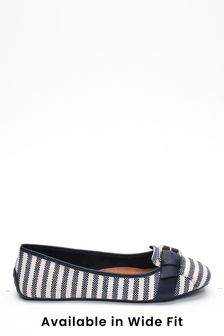 Navy Stripe Buckle Square Toe Ballerinas