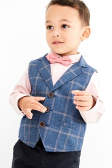 Blue/Pink Check Waistcoat, Shirt And Bow Tie Set (3mths-7yrs)