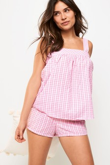 Pink Check Woven Short Set