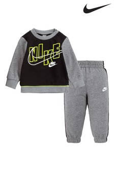 Nike Infant Grey Crew And Joggers Tracksuit